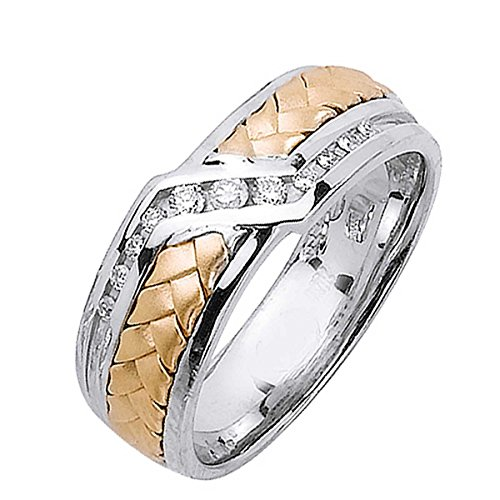 - 0.21ct TDW White Diamonds 14K Gold Braided Men's Wedding Band (G-H, SI1-SI2) (7mm) Size-12.5c4