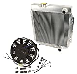 2 Row Aluminum Radiator & 14'' Black Cooling Fans For 1964-1966 Ford Mustang V8 260 289 AT MT 1965 64 65 66