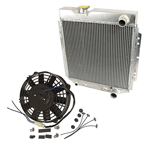 2 Row Aluminum Radiator & 14'' Black Cooling Fans For 1964-1966 Ford Mustang V8 260 289 AT MT 1965 64 65 66 by DEMOTOR