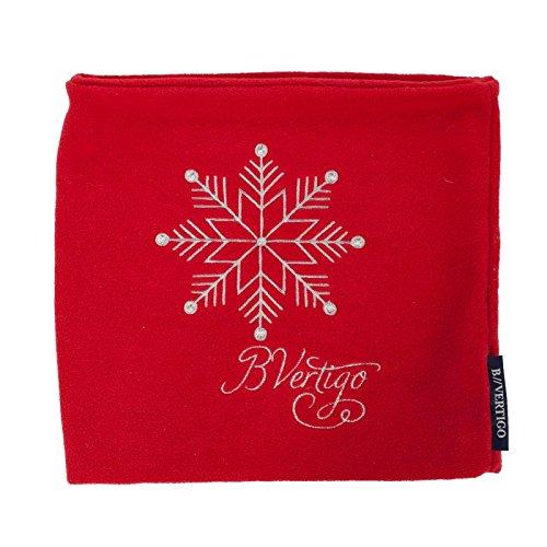 netproshop Damen Schlauchschal Fleece mit Stickerei Rot