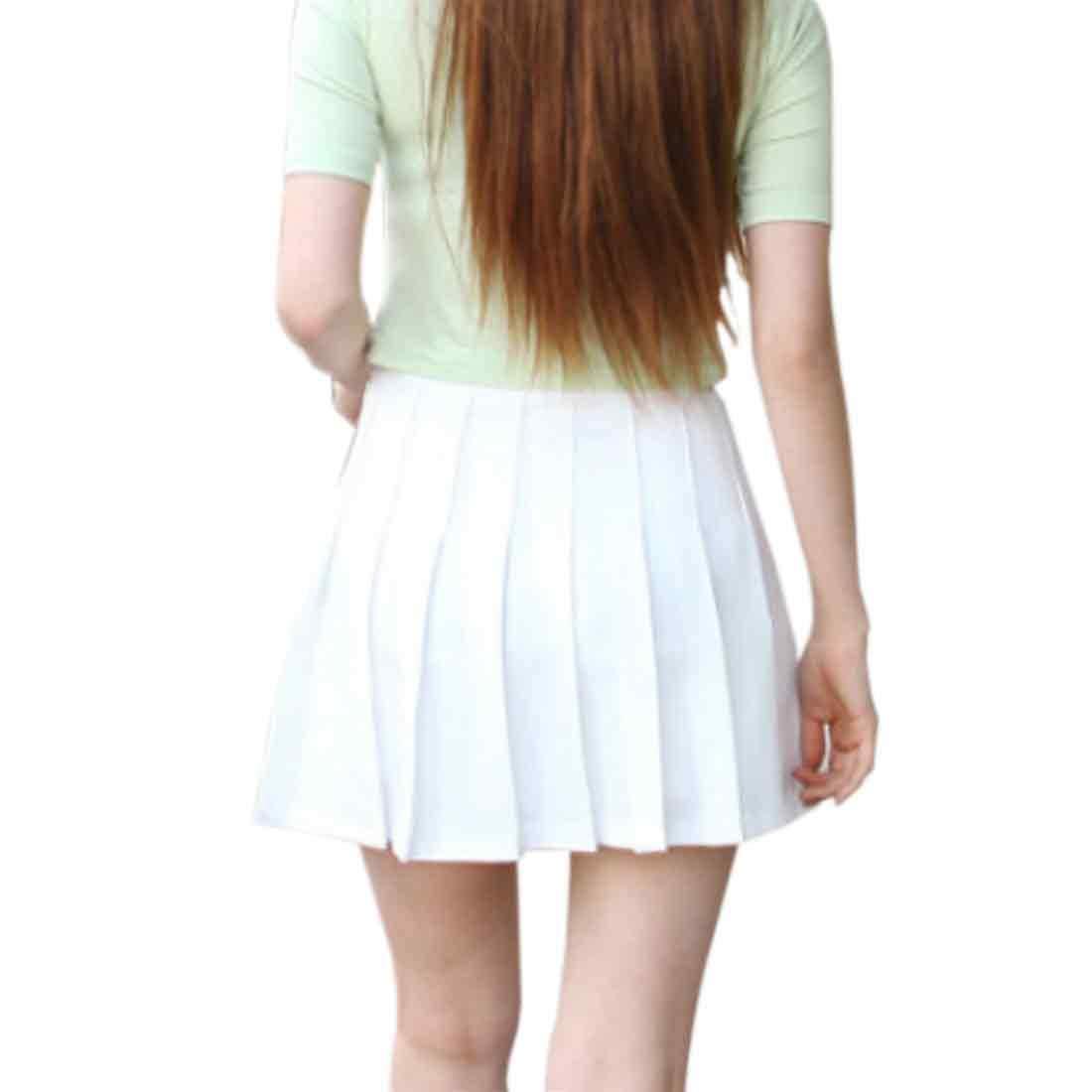 Inlefen Jupe Slim /à Plis /à s/échage Rapide et /à la Taille Haute pour Femmes de entra/înement Sportif et de Remise en Forme Mini-Short de Tennis de Patineur avec Fermeture /à glissi/ère lat/érale