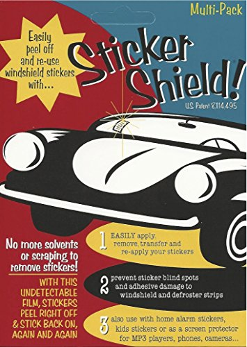 STICKER SHIELD - Windshield Sticker Applicator For Easy Application, Removal and Re-application From Car to Car - 4 inch x 6 inch sheets (Pack of 2 Sheets)