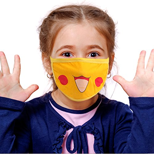 Mouth Mask,Cotton Mouth Mask,Cartoon Kawaii Anime Mask Anti Dust Yellow Face Mouth Mask for Kids Adults