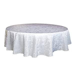 ColorBird Scroll Damask Jacquard Tablecloth Spillproof Waterproof Fabric Table Cover for Kitchen Dinning Tabletop Linen Decor (Round, 70 Inch, White)
