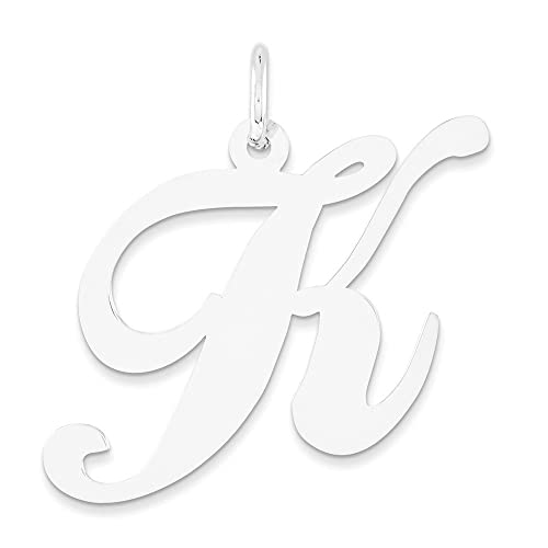Amazon Com 14k White Gold Fancy Letter K Pendant Cursive