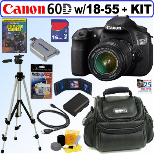 Canon EOS 60D 18 MP CMOS Digital SLR Camera with EF-S 18-55mm f/3.5-5.6 IS Lens + 16GB Deluxe Accessory Kit, Best Gadgets