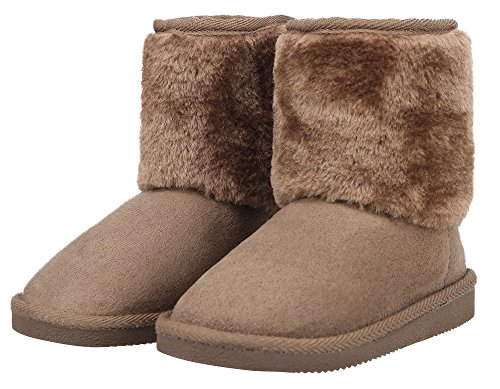 pa Lined Faux Suede Velcro Winter Boots Camel 1 M US Little Kid (Faux Fur Kids Boots)
