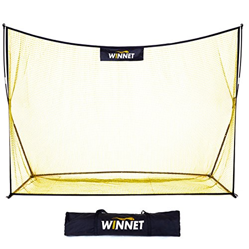 Winnet Golf Net 10 x 7 ft, Golf Training Equipment, Hitting Practice Driving net, Yellow Polyester Knotless Nets