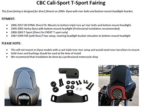CBC TSport Front Fairing Outer for Harley-Davidson Club Style Dyna Street Bob or Dyna, FXR, T-sport (unpainted) by CaliBikerClub (Image #1)'