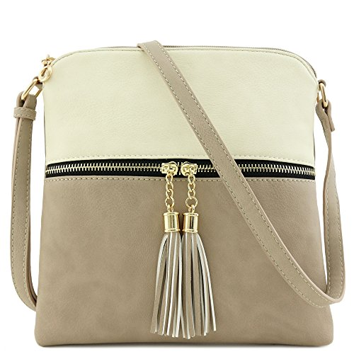 Tassel Zip Pocket Crossbody Bag (Beige/Brick) by FashionPuzzle
