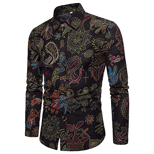 (Realdo Mens Bohemian Shirt, Business Casual Boho Slim Long Sleeve Fit Print Blouse Top)