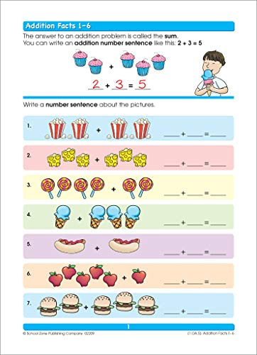 School Zone - Addition & Subtraction Workbook - 64 Pages, Ages 6 to 8, 1st & 2nd Grade Math, Place Value, Regrouping, Fact Tables, and More (School ... Workbook Series) (Deluxe Edition 64-Page)