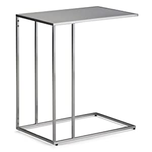 Simpli Home AXCSLO-02-SS Sloan C Side Table in Stainless Steel