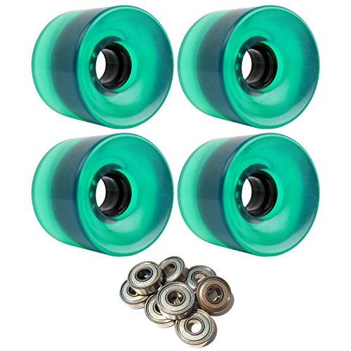 TGM Skateboards Longboard Cruiser Wheels 65mm x 51.5mm 83A 341C Green Clear ABEC 7 Bearings