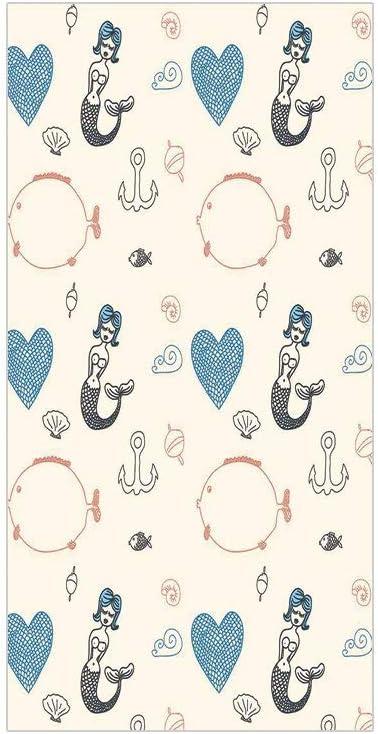 3D Decorative Film Privacy Window Film No Glue,Mermaid,Balloon Fish Hearts Pattern Sea Oceanic Objects Sketch Art Kids Decor,Cream Light Blue Black,for Home&Office