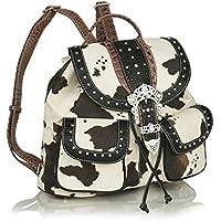 Ladies Faux Leather Trim Western Bling Backpack, Cow Print w/ Rhinestone Buckle