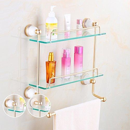 WENZHE Over Toilet Bathroom Shelf Rack Washroom Shower Wall Mounted Corner  Dressing Table Glass Punch/
