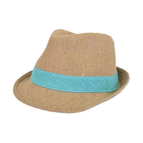 Classic Burlap Style Tan Fedora Straw Hat, Light Blue Band