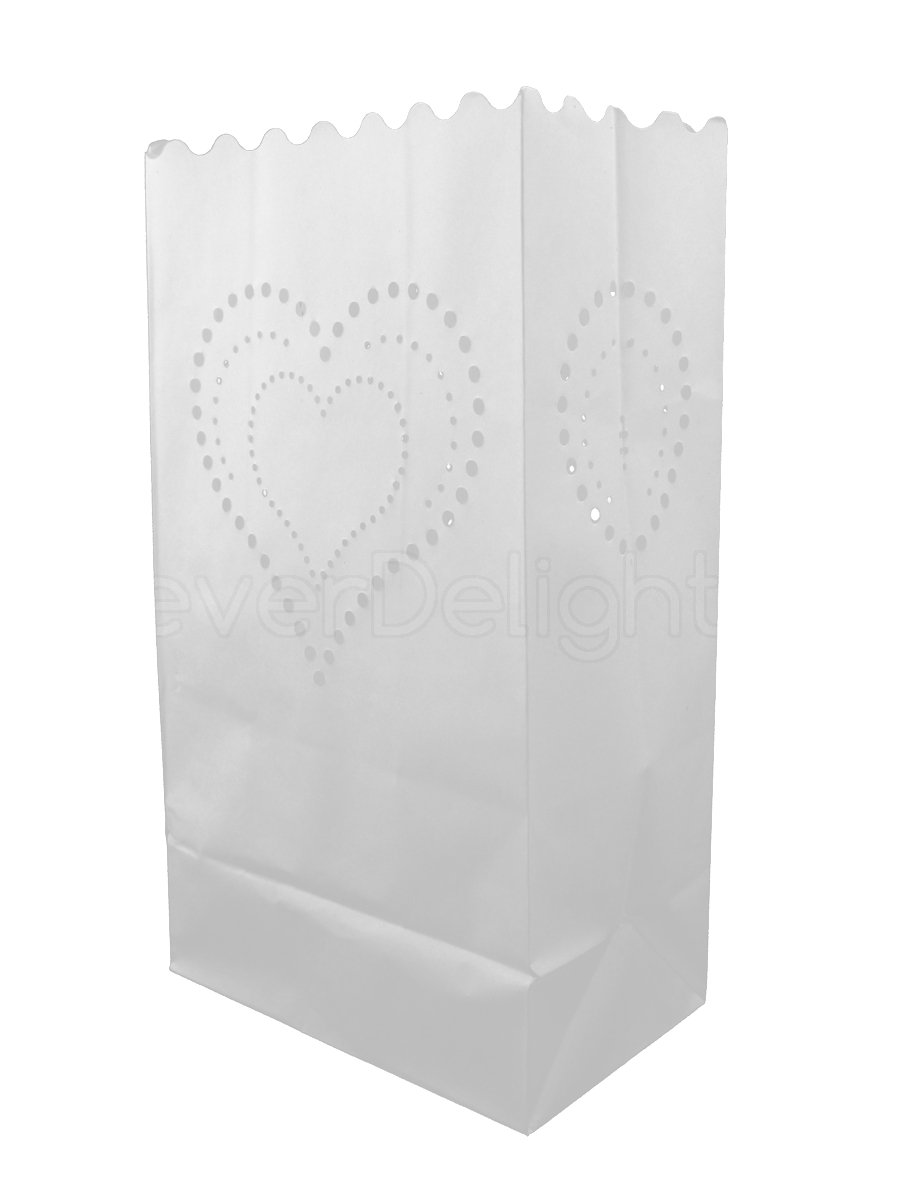 Flame Resistant Paper Reception Party and Event Decor 30 Count Luminaria Candle Bag Wedding CleverDelights White Luminary Bags Heart of Hearts Design