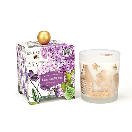 Michel Design Works Gift Boxed Large Soy Wax Candle, Lilac & Violets