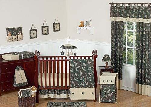 Green and Brown Camo Camouflage Military Baby Boy Bedding 11pc Crib Set without bumper