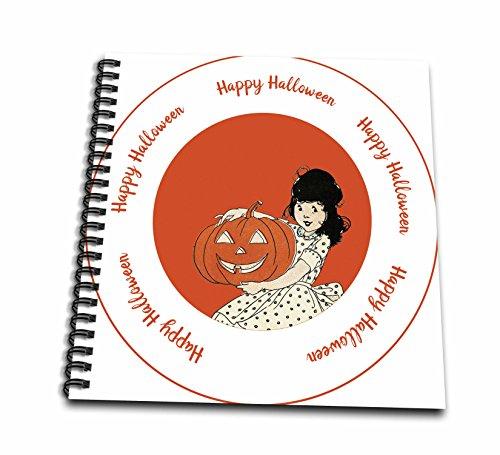 3dRose TNMPastPerfect Halloween - Halloween Girl With Pumpkin - Drawing Book 8 x 8 inch (db_280649_1) ()