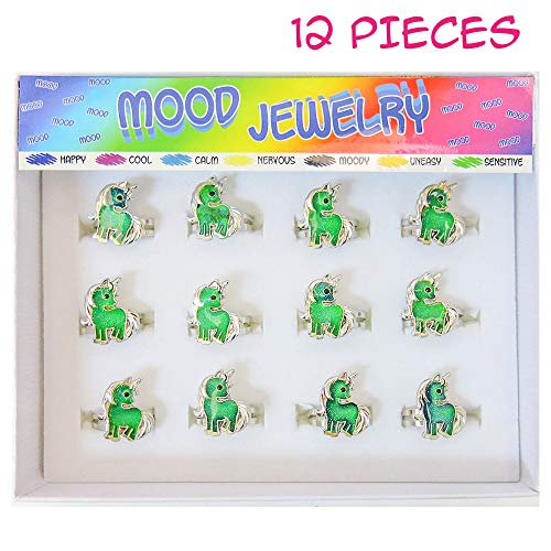FROG SAC 12 PCs Unicorn Mood Rings Tray for Girls, Kids, Tween - Cute Color Changing Ring Set - Great Party Favors, Stocking Stuffers, Fun Mood Jewelry for Children (Unicorns) ()