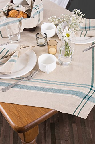 DII 100% Cotton, Machine Washable, Everyday French Stripe Kitchen Tablecloth for Dinner Parties, Summer & Outdoor Picnics - 60x84 Seats 6 to 8 People, Teal by DII (Image #4)
