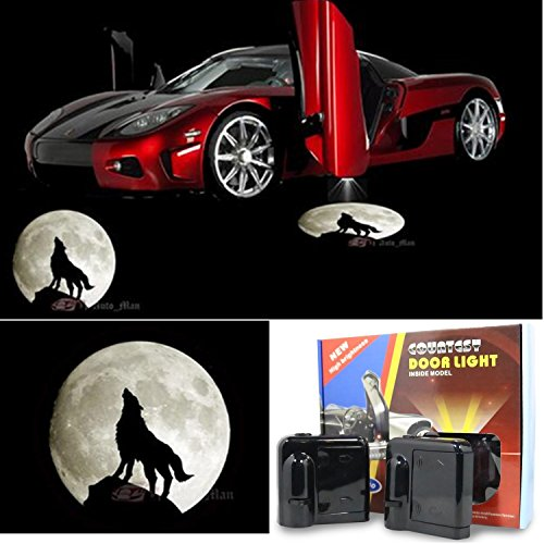 Price comparison product image 3D Wireless Magnetic Car Door Step LED Welcome Logo Shadow Ghost Light Laser Projector Lamp (Moon and Wolf)