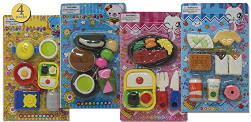 4 Packs - Pull-apart Erasers, Japanese Erasers, Puzzle Erasers for Kids, Take-Apart Erasers for Boys and Girls, Japanese Style Food and Bento Lunch Variety Pack, 23 Pcs of Various Sizes - Bulk