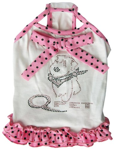 Anima White with Pink and Black Polka Dot Trim Sundress, Small, My Pet Supplies