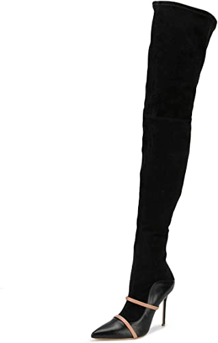 Womens Kitten Heel Pointed Shoes Stretch Suede Fabric Over Knee Boots US Sz 4~14