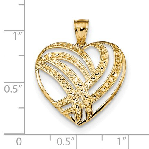 Roy Rose Jewelry 14k Yellow Gold Polished Diamond Cut Heart Pendant by Roy Rose Jewelry (Image #2)