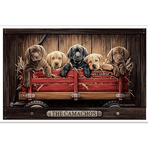 (Personalized Family Name Poster with Black, Yellow & Chocolate Labs in Red Wagon | Unique Gift for Friends & Family | Dog Lovers Gift Idea)