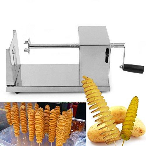 niceEshop(TM) Stainless Steel Potato Spiral Slicer Cutter Machine,Sliver