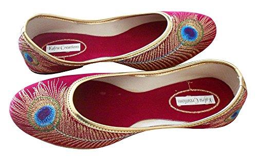 KALRA Creations Traditionelle indische Leder Damen Ballerinas Rose