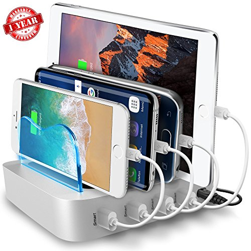 USB Charging Station - Charging Dock - 4-Port - Fast Charging Station - iPad Docking Station - Phone IOS Android Charging Station Dock - Multi Charging Station for Cell Phones and Tablets