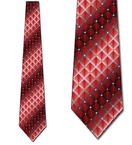 Red White and Black Checkered Pattern Woven Mens NeckTies Man Fashion Tie by Uomo Venetto - Uomo Mens Fashion