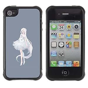 Be-Star Unique Pattern Anti-Skid Hybrid Impact Shockproof Case Cover For Apple iPhone 4 / iPhone 4S ( Princess Ballerina Anime Grey White ) Kimberly Kurzendoerfer