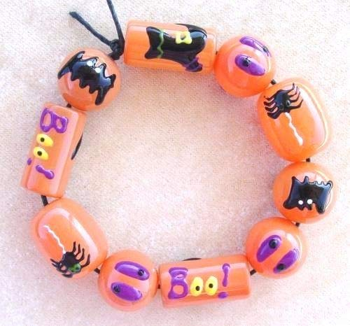 Halloween Beads Hand Painted Glass Spider Boo Bat Eye Black Orange Goth Beads -