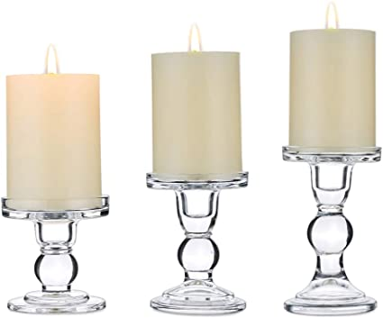 Nuptio Set Of 3 Clear Glass Candle Holders For 7 5cm Pillar Taper Candle Dual Uses Candleholder Centerpieces For Wedding Party Christmas Home Decoration Table Candlestick Holders For Halloween Amazon Co Uk Kitchen