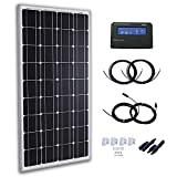 Komaes 100 Watts 12 Volts Monocrystalline Solar Panel Kit with 20A PWM Charge Controller + 20ft Tray Cable + 20ft MC4 Connectors + Mounting Z Brackets