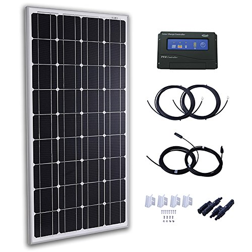 Komaes 100 Watts 12 Volts Monocrystalline Solar Panel Kit with 20A PWM Charge Controller + 20ft Tray Cable + 20ft MC4 Connectors + Mounting Z Brackets by KOMAES