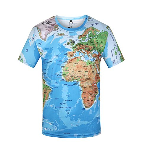KYKU Unisex 3D T Shirt Men World Map T-Shirt Funny Summer Tops Graphic Tee(Large)