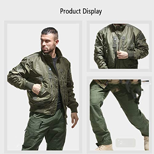 WYGH Mens Flying Bomber Jacket Vintage classic Aviator Jackets stand up collar long sleeve Autumn Tactics Military Windbreaker Coat,Green-3XL