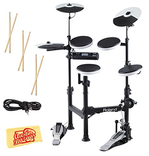 Roland TD-4KP Electronic Drum Set Bundle with 3 Pairs of Sticks, Audio Cable, and Austin Bazaar Polishing - Cymbals Crash Roland