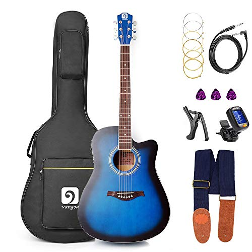 Guitar Electric Acoustic, Acoustic Guitar Cutaway 41 Inch Full Size Folk Guitar Beginner Kit, Blue, by Vangoa ()