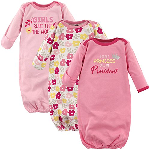 Luvable Friends Unisex Baby Cotton Gowns, Girls for President 3-Pack, 0-6 Months (Baby Doll Nightgown For Girls)
