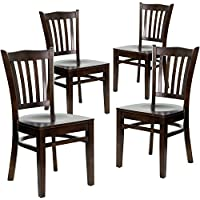Flash Furniture 4 Pk. HERCULES Series Vertical Slat Back Walnut Wood Restaurant Chair