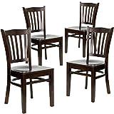 Flash Furniture 4 Pk. HERCULES Series Vertical Slat Back Walnut Wood Restaurant Chair Review